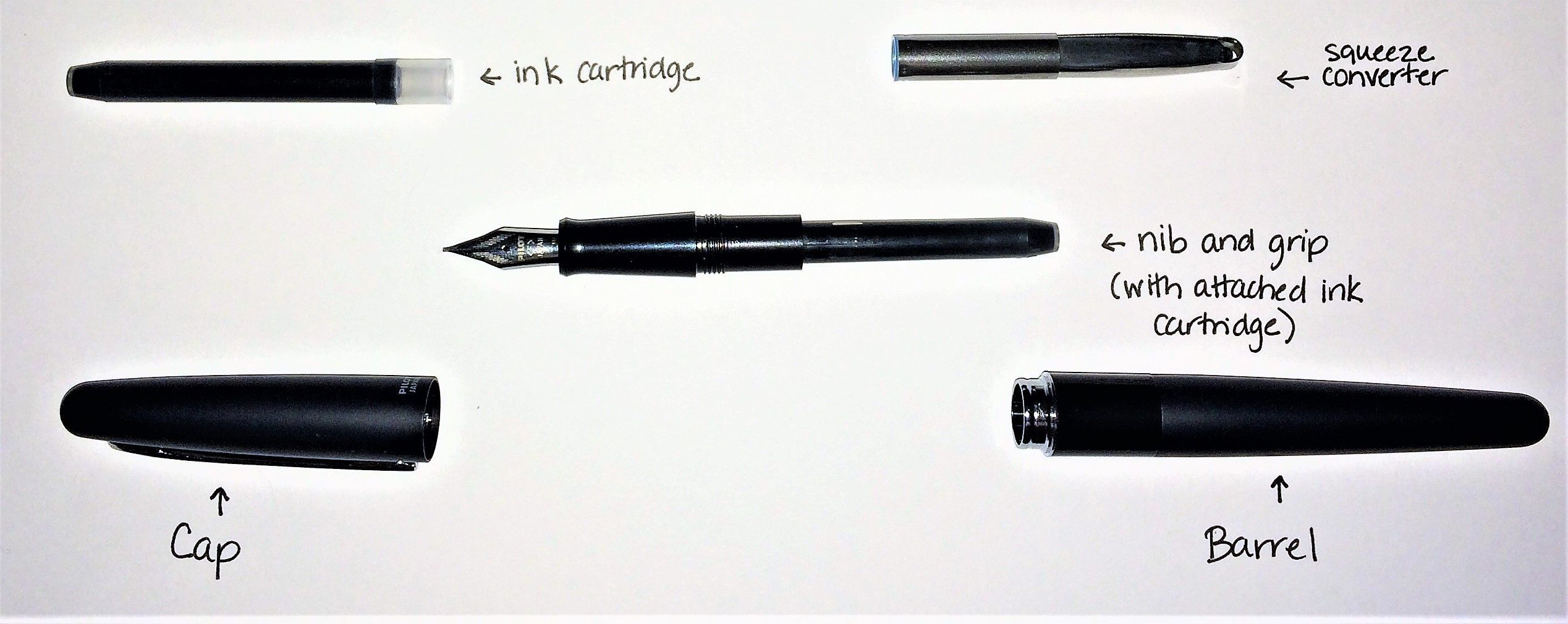 How to Put Ink in Fountain Pen Disassembled Pilot Metropolitan